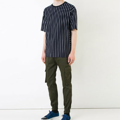 [UNISEX] PIN STRIPE POINT BLACK SHORT SLEEVE