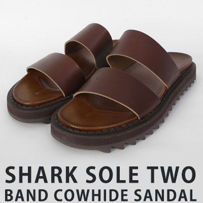 [25.0 ~ 28.0cm][COWHIDE] SHARK SOLE TWO BAND SANDAL (2color)