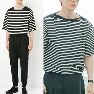 Guardian: The Lonely and Great God/Goblin st. SQUARE NECK STRIPED SHORT SLEEVE T-SHIRTS