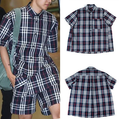BTS J-HOPE STYLE! [NAVY COLOR][UNISEX] CLASSIC CHECK SHORT SLEEVE SHIRTS