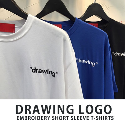 [UNISEX] DRAWING LOGO EMBROIDERY SHORT SLEEVE TSHIRTS(3color)