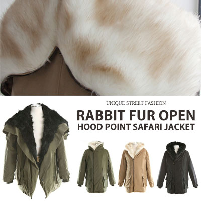 [UNISEX] RABBIT FUR OPEN HOOD POINT SAFARI JACKET(5color)