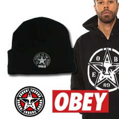 OBEYst.STAR LOGO PRINT knit hat STREET FASHION popular brands OBEY wind