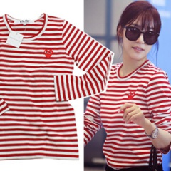 """EMS free shipping = 3 business days arrival"" Girls plainclothes mail order Korea popular idol SNSD Tiffany wear style Comme style red stripe long-sleeved T-shirt (2Size)"