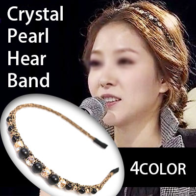 BOA Style! Crystal Pearl hair band of K-pop star (BLACK, IVORY, GRAY, GOLD) / Crystal Pearl Hair band