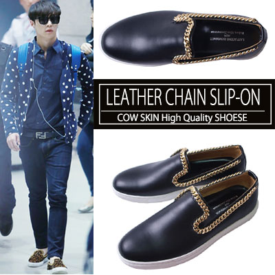 [24.5~28.0cm]Cowhide gold chain slip-on (245 ~ 280mm) / LOUIS LEATHER CHAIN ​​SLIP-ON LOAFER