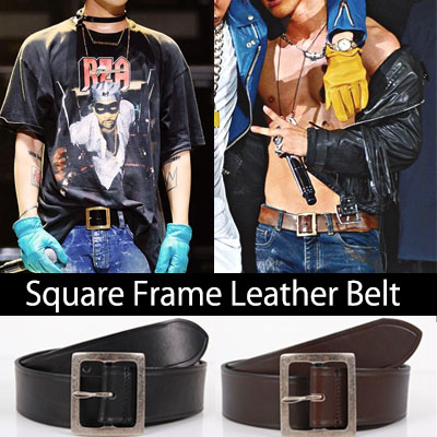 BIGBANG G-DRAGON &TEAYANG FASHION STYLE! Square Frame leather belts