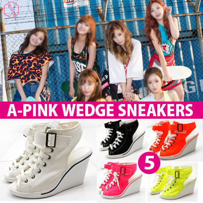 [22.5~25.0cm]A-PINK SBS popular song COMEBACK STAGE [REMEMBER REMEMBER] STYLE! WEDGE HILL SNEAKERS (5COLOR)