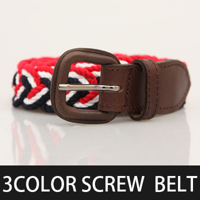 Modern feel and classic exquisite balance of feeling! 3 color screw Cotton & Leather belt (M, L)