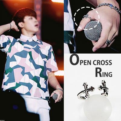 Bangtan Boys (BTS) full hot item in the wear! Classic cross open ring / CLASSIC CROSS OPEN RING