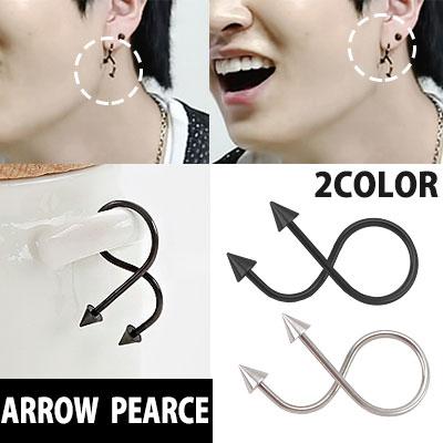 South Korea popular idol GOT7 style! Flexible resembling a devil tail arrow-shaped earrings one / DEVIL TAI LARROW PEARCE 1piece (SILVER, BLACK)