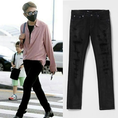 G-DRAGON loving fashionistas the world! Distributors Lloyd Black denim jeans! VER.2/ BLACK DESTROYED SKINNY JEANS