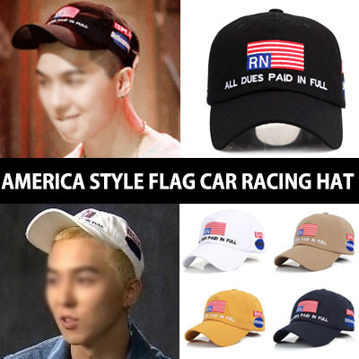 Popular South Korea program [SHOW ME THE MONEY] of WINNER members Min Ho STYLE! American flag ST. Patch racing cap