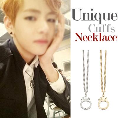 BTS-V wear style! Long type unique handcuffs necklace