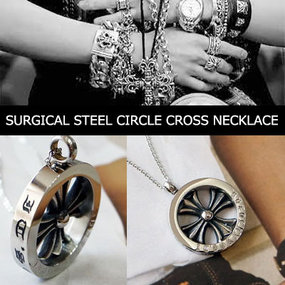 SURGICAL STEEL CIRCLE CROSS NECKLACE