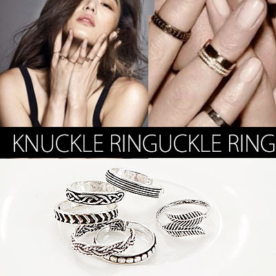 ★ 6 type and unisex ★ Korea Hollywood star cell Lev of fashion items! Trend knuckle ring / Twister ring, dot ring, leaf ring, wave ring, chain ring, line ring