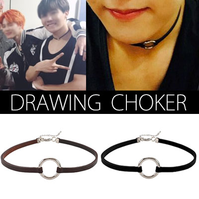 BTS STYLE! DRAWING  CHOKER NECKLACE (BLACK,BROWN)