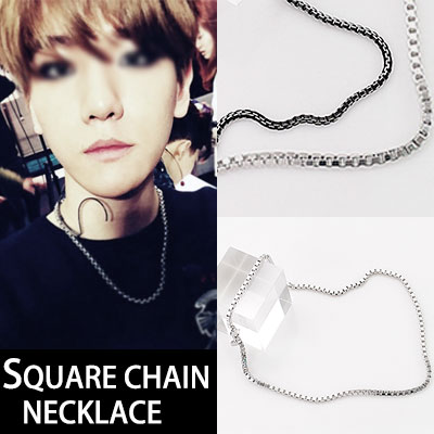 EXO BAEKHYUN STYLE!SQUEARE CHAIN NECKLACE(BLACK,SILVER)