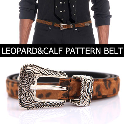 Celebrity style!LEOPARD PATTERN CALF WESTERN BUCKLE BELT