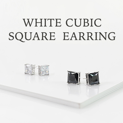 White Square Cubic earrings (for both ears) / WHITE CUBIC SQUARE EARRINGS (2COLORS) /0.8cm/1cm