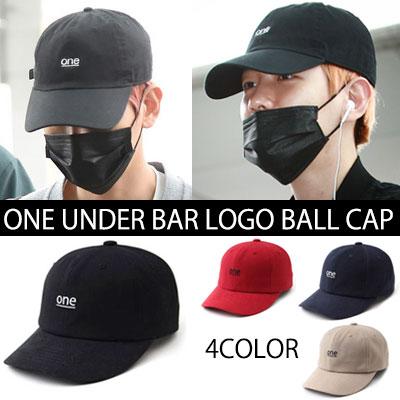 [EXO BAEKHYUN AIRPORT FASHION STYLE!] UNDERLINED ONE LOGO BALL CAP(RED,BEIGE,BLACK,NAVY)