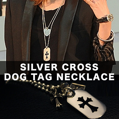 Silver Cross tag necklace / Sterling Silver 92.5%