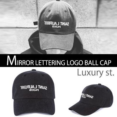 ★VER.2★MIRROR LETTERING LOGO BALL CAP(BLACK,WHITE)