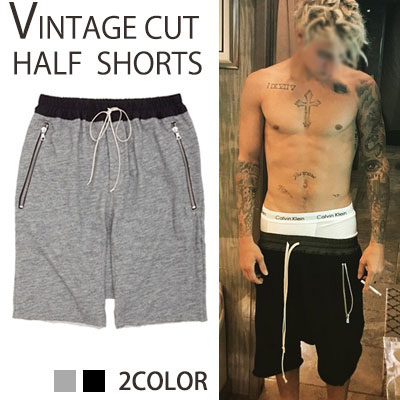 Justin Bieber fashion style!VINTAGE CUT BASIC BANDING BAGGY SHORTS