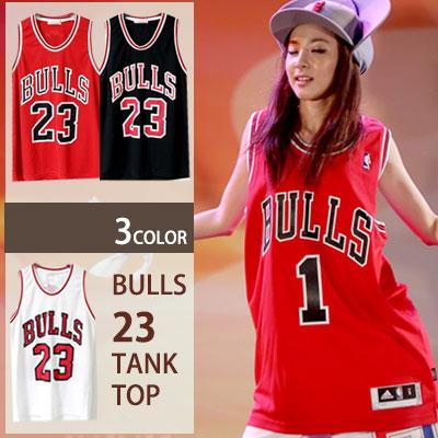 ★2NE1 SANDARA STYLE★street fashion style! BULLS 23 mesh tank top! (3COLOR) sleeveless / mesh tank top