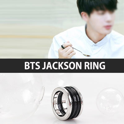 BTS STYLE! BLACK AND SILVER TONE JACKSON RING