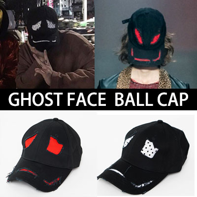 G-DRAGON STYLE!HIGH QUALITY!Ghost Face Damage vintage ballcap