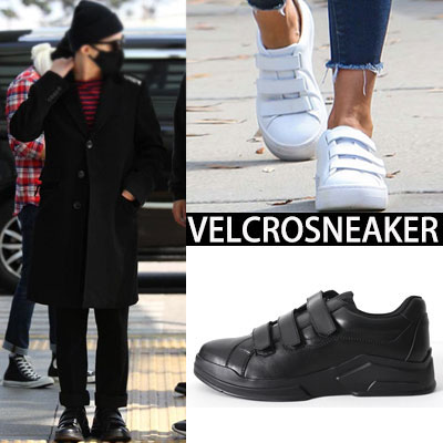 [25.0~27.0cm]G-DRAGON, JESSICA ALBA LUXURY STYLE!VELCRO LEATHER SNEAKERS(BLACK,WHITE)