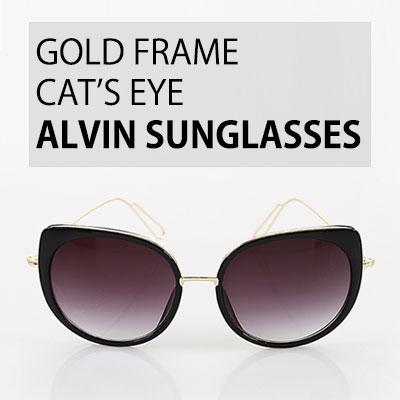 GOLD FRAME CAT'S EYE ALVIN SUNGLASSES