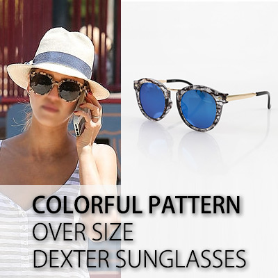 COLORFUL PATTERN OVER SIZE DEXTER SUNGLASSES