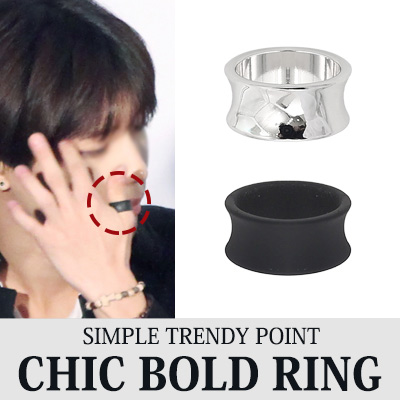 SIMPLE TRENDY POINT CHIC BOLD RING(SILVER,BLACK)