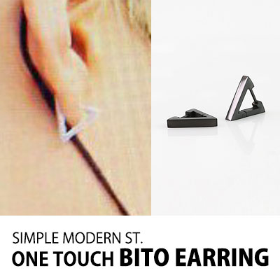 [BTS ST]SIMPLE MODERN ST. ONE TOUCH BITO EARRING(SILVER,BLACK)