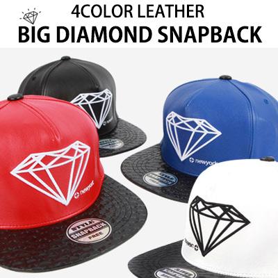 LEATHER VER. BIG DIAMOND SNAPBACK(4COLOR)