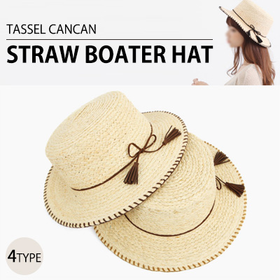 TASSEL CANCAN STRAW BOATER HAT