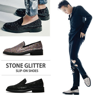 [22.0~28.0cm] WIDTH&INSOLE'POSSIBLE TO CUSTOMIZE ORDER'★G-DRAGON FASHION STYLE!STONE GLITTER SLIP-ON SHOES
