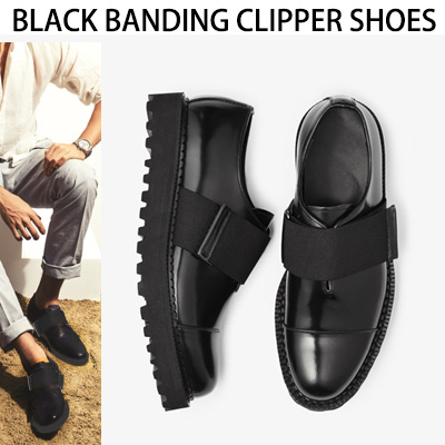 [24.5~28.0cm]WIDTH&INSOLE'POSSIBLE TO CUSTOMIZE ORDER'★BLACK BANDING CLIPPER SHOES
