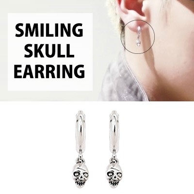 [K-POP IDOL EXO STYLE] SMILING SKULL EARRING