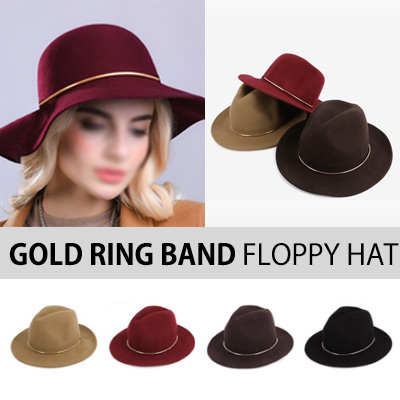 UNIQUE ITEM! GOLD RING BAND FLOPPY HAT