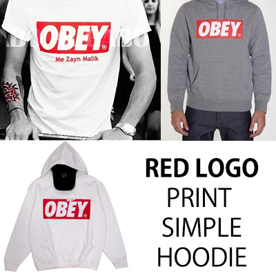 ★DAY SHIPPING★ KIRANG production commodity ★ OBEY red logo print simple 2Color Hoodie