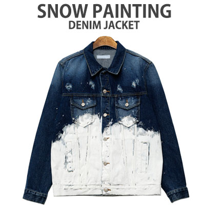 STREET FASHION STYLE!SNOW PAINTING DENIM JACKET