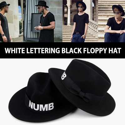 WHITE LETTERING BLACK FLOPPY HAT