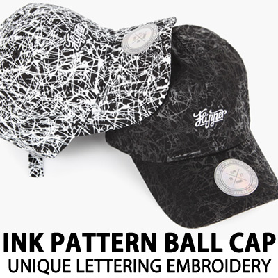 INK PATTERN BALL CAP UNIQUE LETTERING EMBROIDERY