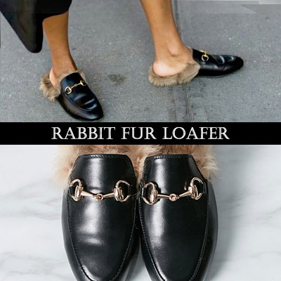 [RANG SHE] [LUXURY STYLE]RABBIT FUR LOAFER /Bloafer