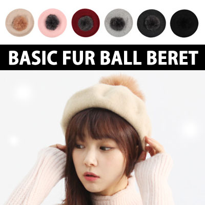 BASIC FUR BALL BERET WINTER DAILY ITEM