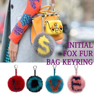 INITIAL FOX FUR BAG KEYRING/13TYPE
