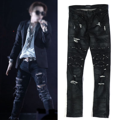 BIGBANG SOL[MADE TOUR]STYLE! DESTROYED SILICON BALCK JEAN
